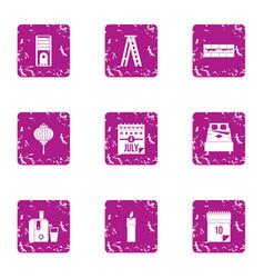 Autonomy icons set grunge style vector