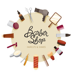 Barber shop accessories on circle frame vector