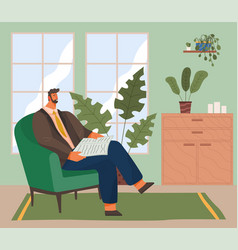 Bearded man sitting on armchair and reading vector