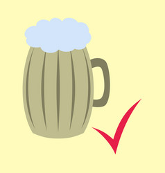 Beer in glass cup refreshing drink with white vector