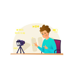 Blogger make interview recording video on his vector