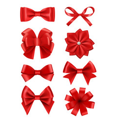 bow realistic ribbons for decoration hair bow vector image