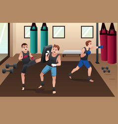Boxer training in the gym vector