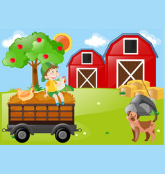 boy and farm animals in the field vector image