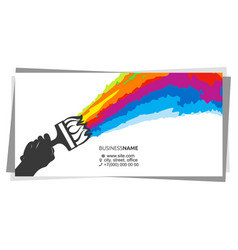 brush in hand multicolored paint splatter vector image