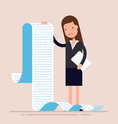 Businesswoman or manager hold a long list or vector