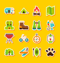 camping hiking stickers vector image