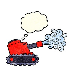 Cartoon army tank with thought bubble vector