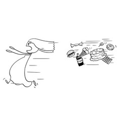 cartoon fat woman running away chased vector image