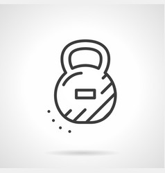Cast kettlebell simple black line icon vector