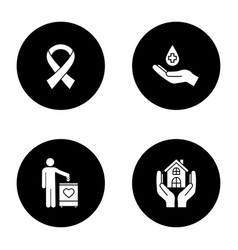 Charity glyph icons set vector