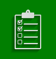 checklist sign paper whitish vector image