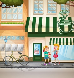 Children and shops vector image