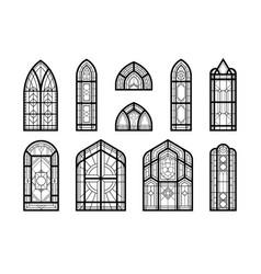 church windows mosaic set vector image