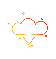 cloud download icon design vector image