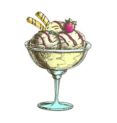 color scoop ice cream cup with fruit hand drawn vector image