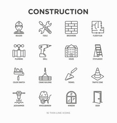 construction thin line icons set builder in vector image