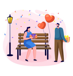 couple on date giving presents on anniversary vector image