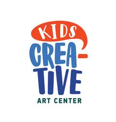 Creative kids center flat logo early vector