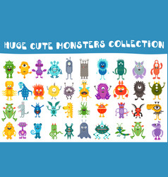 cute monsters collection set vector image