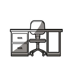 Desk chair workspace furniture wheel shadow line vector