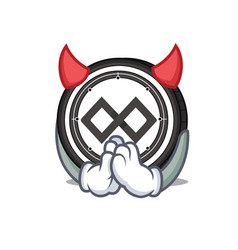 devil tenx coin mascot cartoon vector image