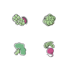 Dieting rgb color icons set vector