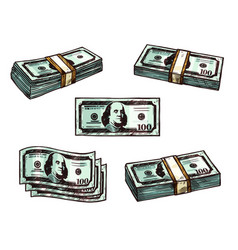 dollars money banknote bundles sketch icons vector image