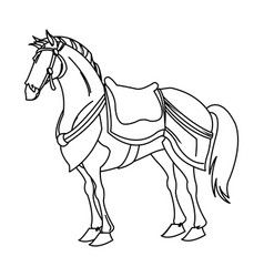 drawing horse of warrior samurai animal vector image