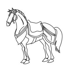 Drawing horse of warrior samurai animal vector
