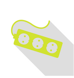 electric extension plug sign pear icon with flat vector image