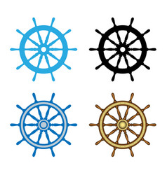 emblem of ship wheel vector image