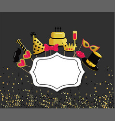 Emblem with happy birthday decoration event vector