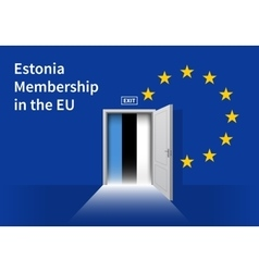 European Union flag wall with Estonia flag door vector
