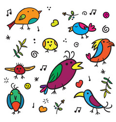 exotic warblers and song bird with colorful vector image