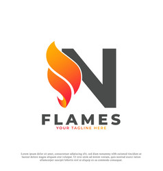 Flame with letter n logo design fire logo template vector