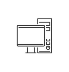 gaming desktop computer concept outline vector image
