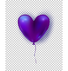 glossy air balloon in heart form purple vector image