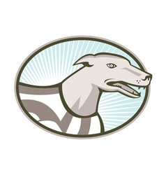 Greyhound Dog Head Retro vector image