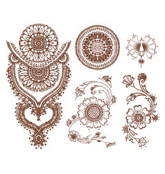 Hand drawn sketch of henna pattern vector