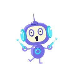 Happy Little Robot With Two Antennas vector