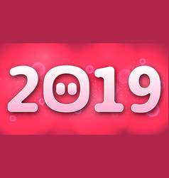 happy new year 2019 funny card design with vector image