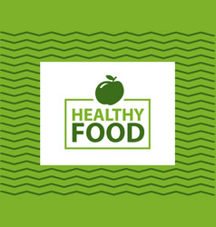 healthy food inscription in fame on wavy lines vector image