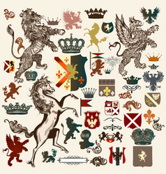 heraldic set design elements in vintage style vector image