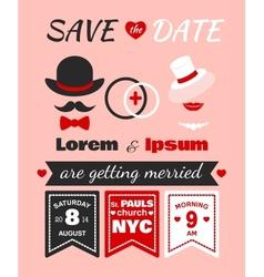 Hipster wedding invitation card vector
