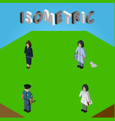 Isometric person set of housemaid doctor officer vector