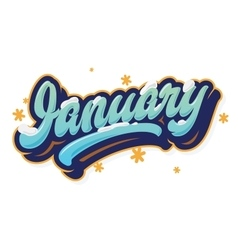 January beautiful lettering print vector
