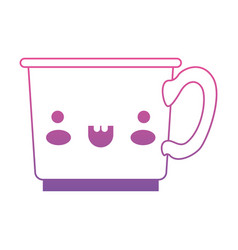 kawaii coffee cup in degraded magenta to purple vector image
