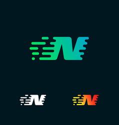 letter n modern speed shapes logo design vector image