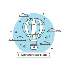 linear air balloon on blue background vector image